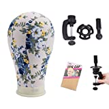 23 Inch Canvas Block Head Beautiful Flower Mannequin Head for Wig Making Display Styling Wig Head Canvas Head with Table Stand and Mount Hole (23 Inch, Flower)