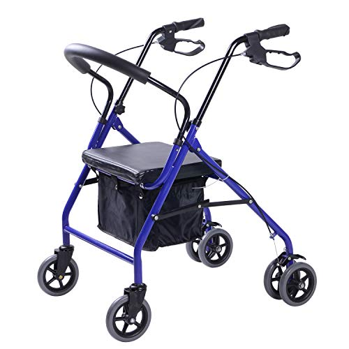 lennov-6Rad Rollator mit Warenkorb zusammenklappbar Trolley für ältere Menschen Alter Walking Sitz kann kaufen Sechs Rädern zum Ein und dadurch den Kleine Einkaufswagen (blau)
