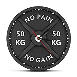 Nobranded Wall Clocks Battery Operated Wall Clocks Acrylic Wall clockNO Pain NO GAIN 50KG Barbell 3D Modern Wall Clock Weight Lifting Dumbbell Bodybuilding Wall Watch Gym Workout Strongman Gift