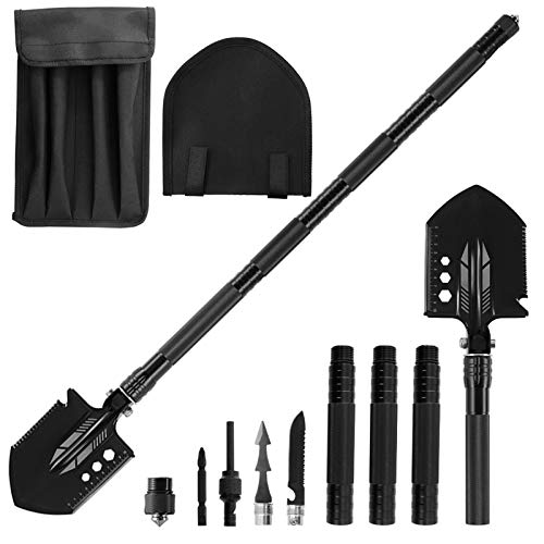 Rose Kuli Camping Folding Shovel Survival Tool with Carrying Pouch Military Shovel Multitool for Car Emergency Camping Hiking Backpacking Fishing Gardening