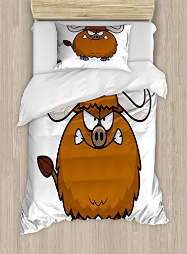 ABAKUHAUS jak Dekbedovertrekset, Angry Wild Bull Hoorns Cartoon, Decoratieve 2-delige Bedset met 1 siersloop, 130 cm x 200 cm, Chocolate White