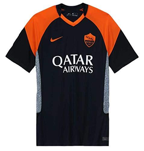Nike Roma M NK BRT STAD JSY SS 3R T-Shirt, Uomo, Black/Safety Orange/(Safety Orange) (Full Sponsor), L