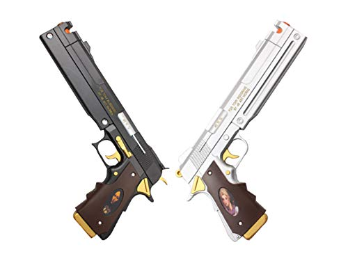 New Game Dante Ebony and Ivory Foam Gun Hand Cannon Prop Cosplay Game Anime Xmas (Black & Silver Set)