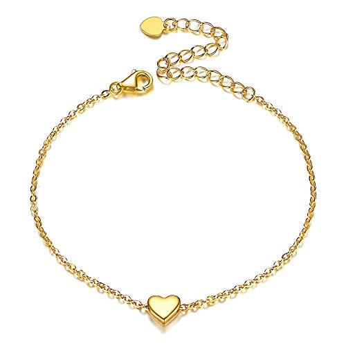 Gold Heart Bracelet 925 Sterling Silver Charm Bracelets Adjustable Wedding Engagement Jewelry