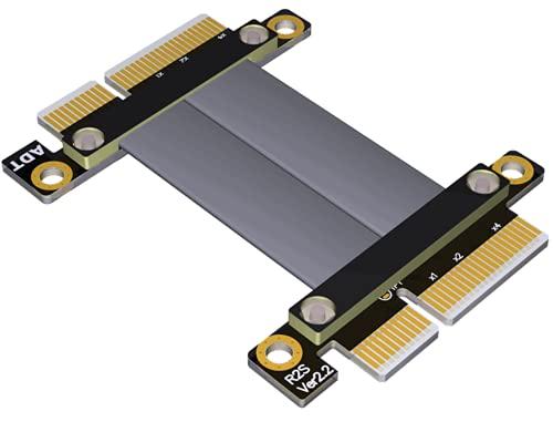ADT-LINK PCI-E 3.0 x4 Cable de extensión macho a macho Gen3 velocidad completa 32G/BPS PCI-E x4 Riser Card señal TX-RX para GTX1080Ti Graphics SSD RAID Extender Cable de conversión R22SS (35cm)