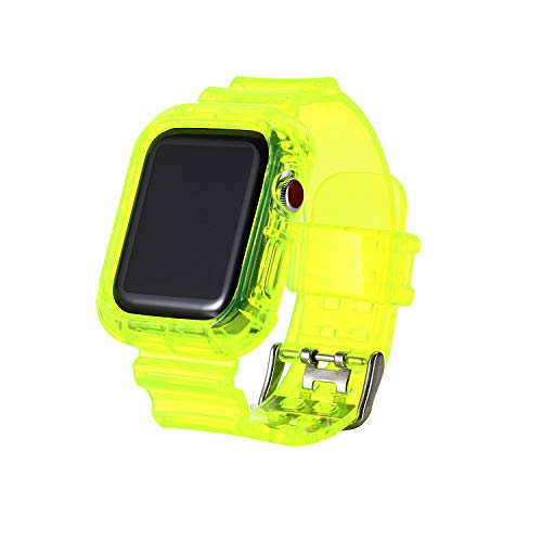 Clear Neon iwatch Strap Bands, TPU Smart Apple Watch Bands with Bumper Protective Case 38mm/40mm,Crystal Sports Wristband Bangle Strap iPhone Watch Series 6 5 4 3 2 1 (Green, 38mm/40mm)