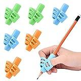 Yuccer 6 Pièces Grip Crayon Enfants Guide Doigt Enfant Stylo Aide Ecriture Grip Support Ecriture Papeterie Cadeau d'anniversaire Fille Garçon (vert, orange, bleu)