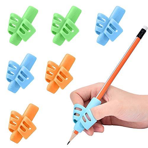 Yuccer 6 Stück Bleistift Griffe Silikon Schreibhilfe für Stift Kinder Erwachsene Stift Richtig Halten Geburtstag Schreibwaren Geschenke Schulgeschenk Mädchen Junge (grün, orange, blau)
