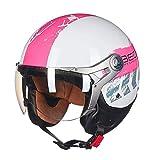 Motocicleta Retro Halley Jet-Helmet Scooter-Helmet Cruiser Mofa Chopper Bobber Pilot Vespa-Helmet Vintage Biker Helmet Moto-Helmet Incluye Gafas Certificación Dot