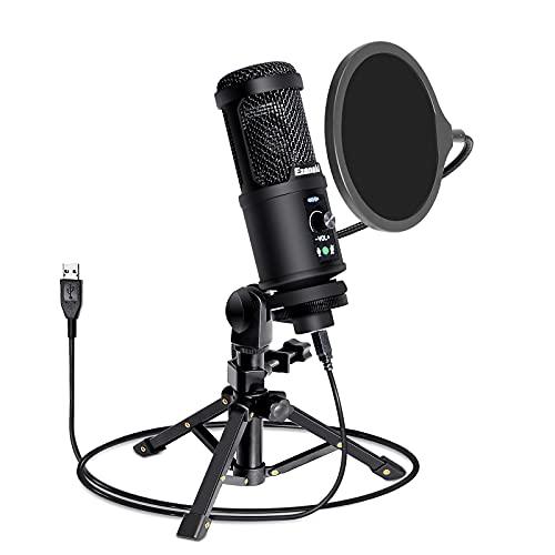 Ezanaki Microphone USB, Plug et Play Microphone PC avec Trépied et Filtre Anti-Pop, pour Enregistrement Vocal, Podcast, Streaming, YouTube, Conférence, Gaming pour Ordinateur Windows Laptop
