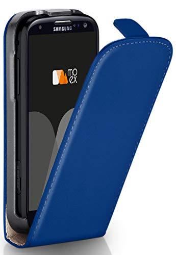 MoEx Flip Cover con Chiusura Magnetica Compatibile con Samsung Galaxy S3 / S3 Neo | Finta Pelle, Blu Scuro