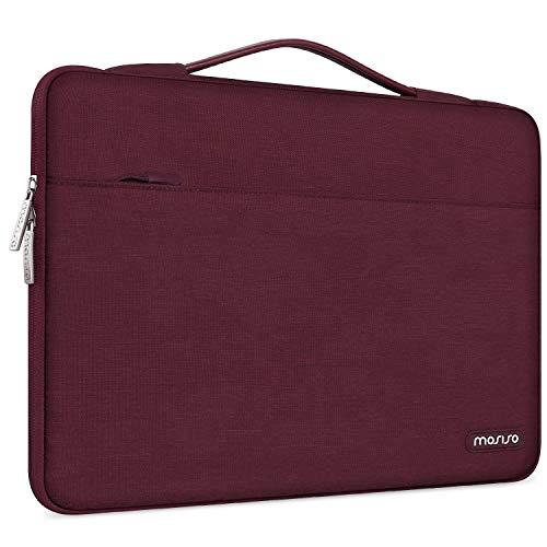 MOSISO Maletín Compatible con 13-13,3 Pulgadas MacBook Air/MacBook Pro/Ordenador portatil, Funda Blanda Protectora 360 Multifuncional Bolso con Correa de Carro, Vino Rojo