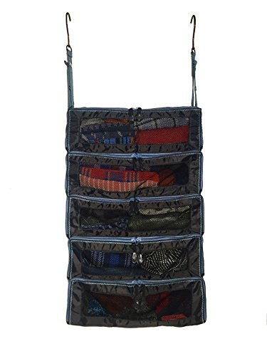 Luggage Organizer Packing Cubes - Packable Suitcase Backpack & Carry-On Bag Travel Accessories - Hanging Shelves feature YKK Zippers & Mesh Windows - Large Portable Closet System for Clothes - Black