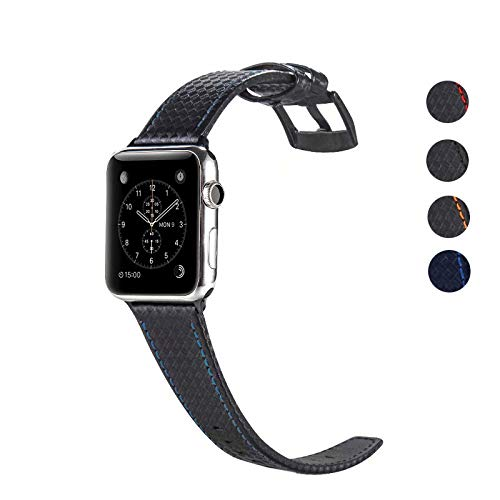 DEALELE Cinturino per iWatch Bracciale di Ricambio in Pelle in Fibra Carbonio, se applicabile Apple Watch Series 4/3 / 2/1, 42mm/44mm, Nero/Blu