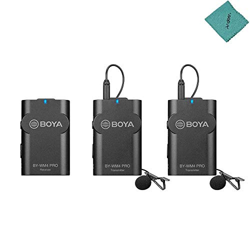 BOYA by-WM4 Pro K2 2.4G Wireless Microphone System(Dual Transmitters + One Receiver) with Hard Case Compatible with DSLR Camera Camcorder Smartphone PC Tablet Sound Audio Recording Interview
