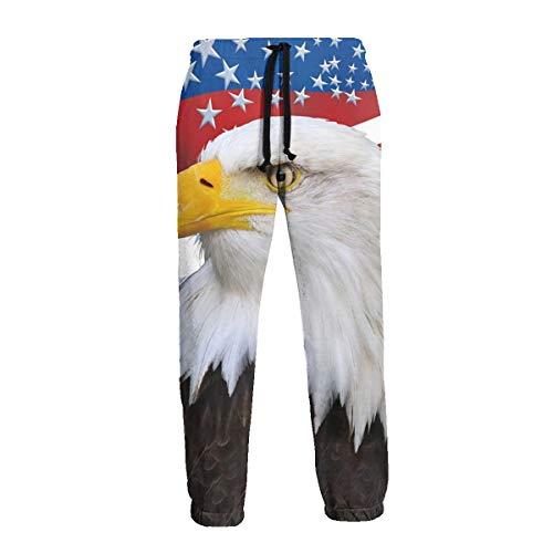 Pantalon de survêtement pour homme Motif drapeau américain - Noir - 31-35