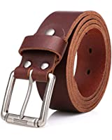 SUNAHEAD Men's Casual Belt, Full Grain Leather 1.5