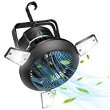 Camping Fan for Tent, Rechargeable Tent Fan with Lights, Solar Fan with Hanging Hook, Portable LED Camping Lantern with Ceiling Fan, Battery Powered Fan for Camping, Fishing, Hiking, Outdoor