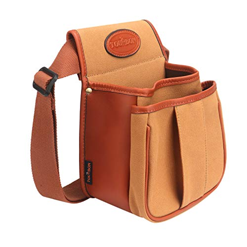 TOURBON Clay Game Shooting Belt Double Shotgun Cartridge Ammo Shell Pouch Bag - Canvas and Leather