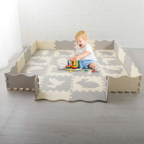 Salaks Large Baby Play Mat with Fence,Foam Tile Nursery Room Activity Puzzle Floor Play Mat with Fence for Babies Infants and Toddlers for Playing, Thick,Crawling and Ultra Thickness US Stock (A)