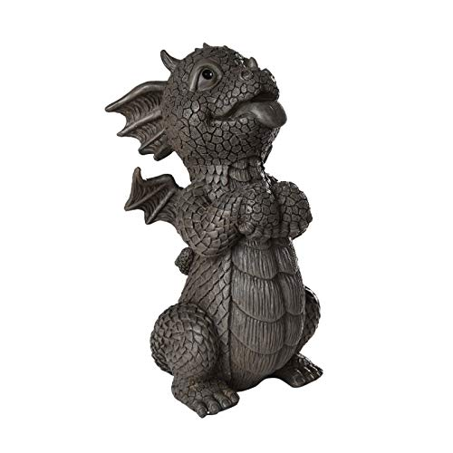 Pacific Giftware Garden Dragon Good Dragon Panting Dragon Garden Display Decorative Accent Sculpture Stone Finish 10 Inch Tall