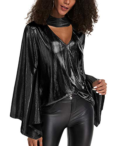 YOINS Sequin Sparkle Capes Tops for Women Sexy V Neck Chimney Collar Flared Sleeves Irregular Hem Party Club Blouses B-Black L