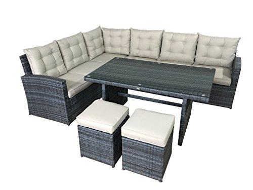 Jet-line Garten Lounge Set La Palma in grau Sitzecke aus Polyrattan Ecksofa Gartenmöbel Set Sitzgruppe Balkon Terasse