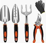 Sinoer Juego de herramientas de jardín de 5 piezas que incluye espada de trasplante, paleta, cultivador, podadora y guantes de jardinería