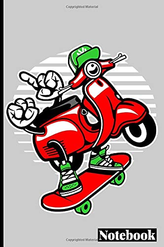 Scooter Skater Notebook Journal: Cartoon Vector Bundle .120 Pages , 6 x 9 , Soft Cover , Matte Finish.
