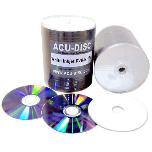 Générique ACU-Disc Lot de 100 DVD-R 16X emballés sous Film rétractable imprimables