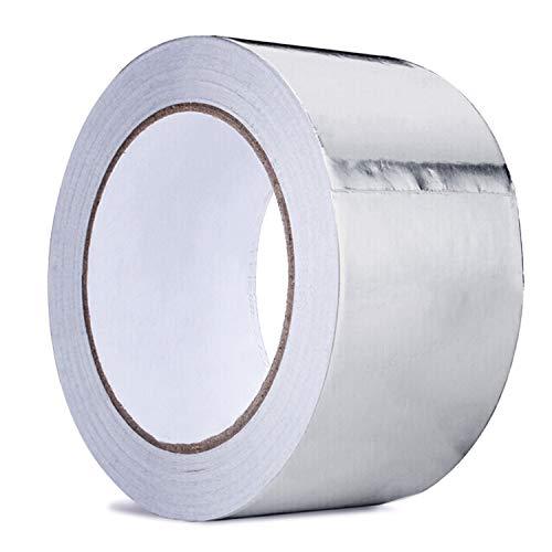 cococity Aluminium Klebeband Hitzeschutz selbstklebend Aluminiumband, PP Klebeband Aluminiumklebebänder Tape Hitzebeständig 40mm X 50m X 0,05mm(Silber)