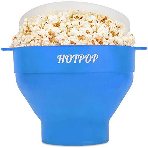 Hotpop Popcorn-Maker für Mikrowelle, Silikon, zusammenklappbar, BPA-frei und spülmaschinenfest, in 17 Farben erhältlich, Hellblau