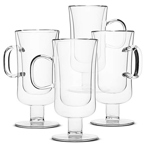 BTaT- Irish Coffee Mug, Coffee Glass, Set of 4 (10oz, 300ml), Double Wall Glass Irish Coffee Cup, Tea Cups, Latte Cups, Glass Coffee Mug, Beer Glasses, Latte Mug, Clear Mugs, Glass Cups, Glass Tea Mug