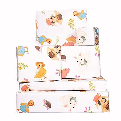 Central 23-6 Wrapping Paper Sheets - Farm Animals - for Boys and Girls New Baby - 1st 2nd 3rd Birthday - Cute GiftWrap - Recyclable