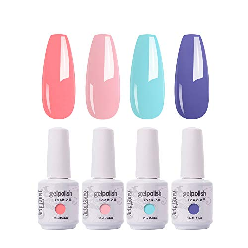 ARTE CLAVO Gel Nail Polish 4 Colours Set UV LED Soak Off Nail Art Manicure Salon Set 15ml