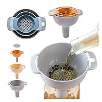 Zhi Zhi 4-IN-1ファンネル設定したオイルファンネルストレーナーキッチンツール油水スパイスワインフラスコフィルター漏斗プラスチック製キッチンアクセサリー (色 : Orange)