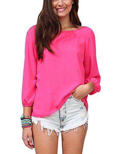 Damen Bluse Locker Top Oberteil Große Größe Zurück Quaste Bowknot Chiffon Oberteile T-Shirt Rose XXL