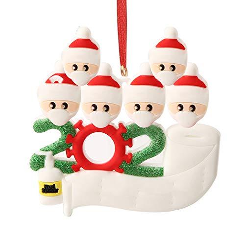 Hbsite Adorno navideño Colgantes navideños 2020 Cuarentena personalizada Adornos para árboles de navidad familiares Decoración navideña Superviviente Regalo creativo personalizado (6 personas familia)