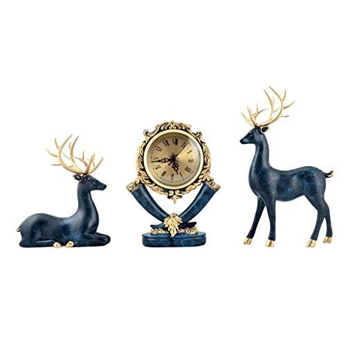 Decoración de escritorio Nordic elefante decoración del hogar Three-piece, retro reloj y la decoración de la sala de estar, oficina decoración de escritorio, Estatua animal, Escultura Moderna (3pcs) a