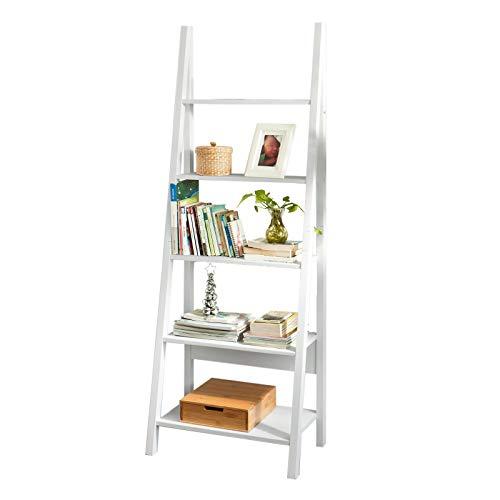 SoBuy FRG61-W Wandregal Badregal Leiterregal Standregal Bücherregal mit fünf Böden weiß BHT ca.:...