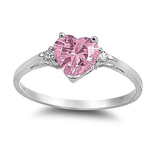 Sac Silver  Sterling Silver Pink Simulated CZ  Heart Promise Ring, 4