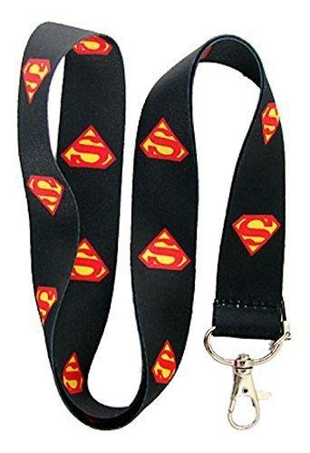 Teléfono Nuevo Superman Superhéroe Negro Cordón para el cuello de la correa de móvil, Tarjeta de Identificación, claves, Regalos
