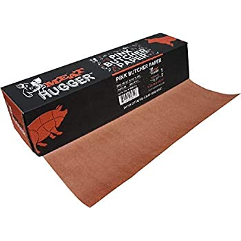 """Pink Butcher Paper - For Meat Smoking and Barbecue - Heavy Duty Unwaxed Food Grade Paper - Smoker Safe - Use Wrap While Cooking For Tender Meat - Unbleached 17.25"""" x 175' Roll With Dispenser"""