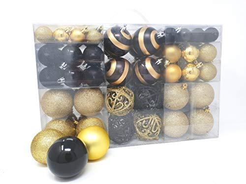 100 palle di Natale 2 colorate di nero e oro Adatto con gancio Glittering lucido Matt Decorazioni per albero di Natale Sfere per albero di Natale fino a Ø 6 cm Decorazione albero Decorazione natalizia