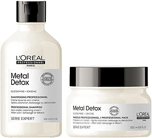 L'Oréal Professionnel Crema Metal Détox limpiadora anti metales, del balayage y decoloración, 300ml + Mascarilla protectora Después del color, Metal Détox, SERIE EXPERT, 250 ml