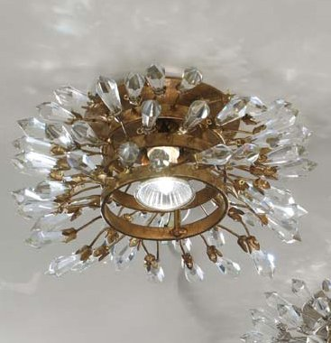 Confetti Kristall Einbauleuchte/Spots in Blattgold mit Patina dunkel | Handgefertigt in Italien | Einbaustrahler Klassisch Dimmbar | Lampe GU10