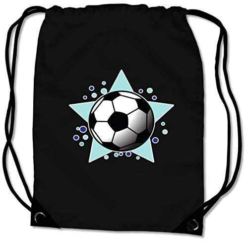 Samunshi® Turnbeutel mit Motiv Fussball für Jungen und Mädchen Sportbeutel für Schule Sport Sporttasche schwarz