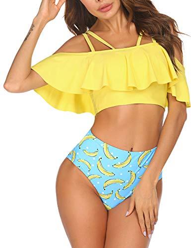 Ekouaer Bikini Rüschen Bademode Damen Toher Taille Badeanzug Zweiteilige Strandkleidung Große Größen,gelb,s