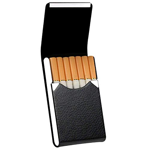 RIVIA Classic Leather Cigarette Carrying Case for Men and Women - Regular | King | Slim Sizes (Black)