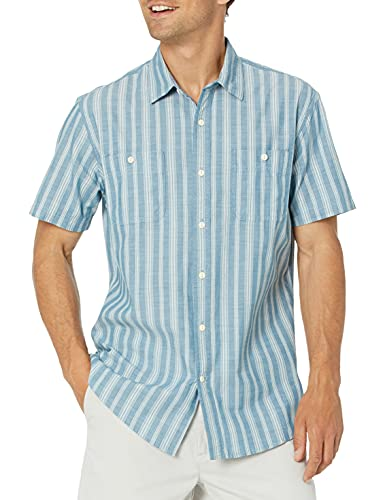 Amazon Essentials Regular-Fit Short-Sleeve Shirt Hemd, Blauer vertikaler Streifen, XXL